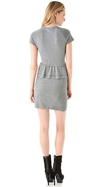Cut25 by Yigal Azrouel Speckled Knit Peplum Dress