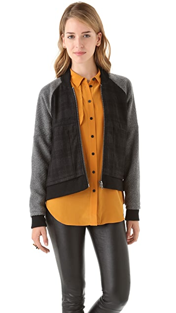 Cut25 by Yigal Azrouel Plaid Combo Baseball Jacket