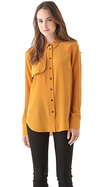 Cut25 by Yigal Azrouel Button Down Silk Blouse