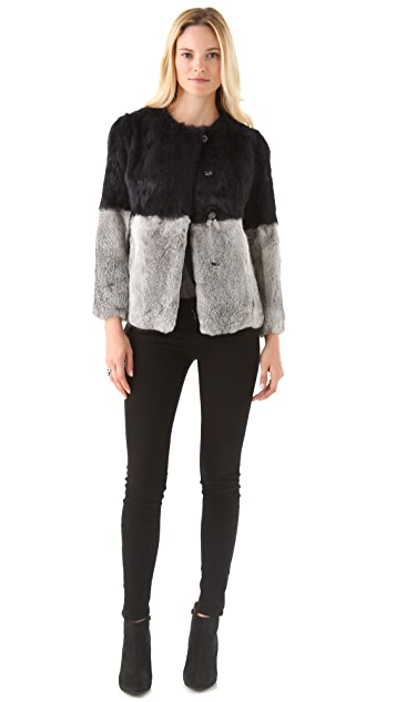 Cut25 by Yigal Azrouel Patchwork Fur Coat