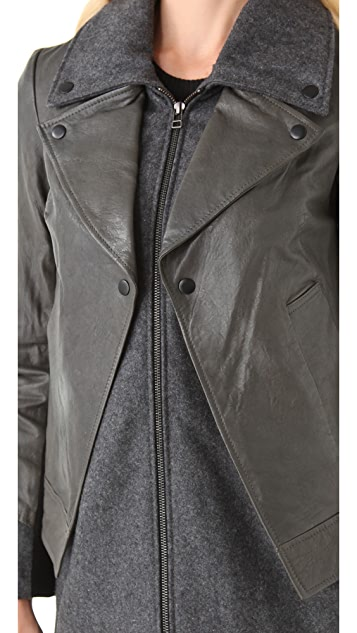 Cut25 by Yigal Azrouel Felt Jacket with Leather Overlay
