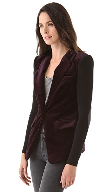 Cut25 by Yigal Azrouel Velvet Blazer with Rib & Leather