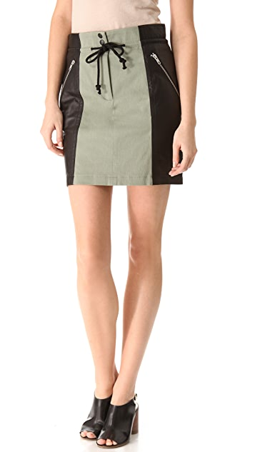 Cut25 by Yigal Azrouel Leather Combo Skirt