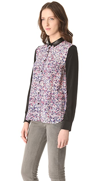 Cut25 by Yigal Azrouel Printed Panel Blouse