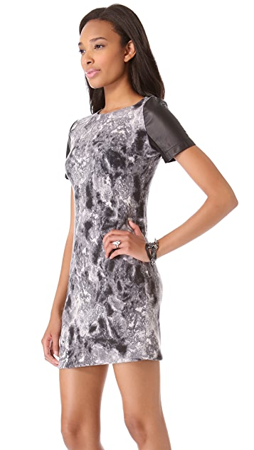 Cut25 by Yigal Azrouel Jersey Dress with Leather Sleeves