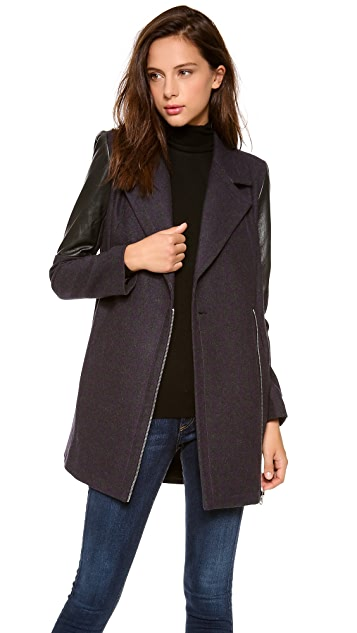 Cut25 by Yigal Azrouel Leather Combo Coat