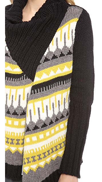 Cut25 by Yigal Azrouel Fair Isle Chunky Drape Front Cardigan