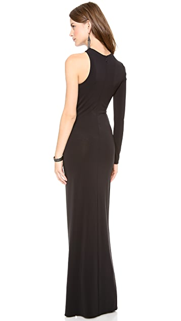 Cut25 by Yigal Azrouel One Shoulder Long Sleeve Gown