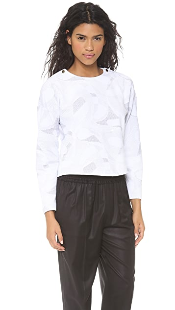 Cut25 by Yigal Azrouel Geo Jacquard Long Sleeve Top