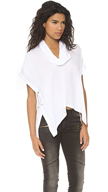 Cut25 by Yigal Azrouel Cowl Neck Snap Top