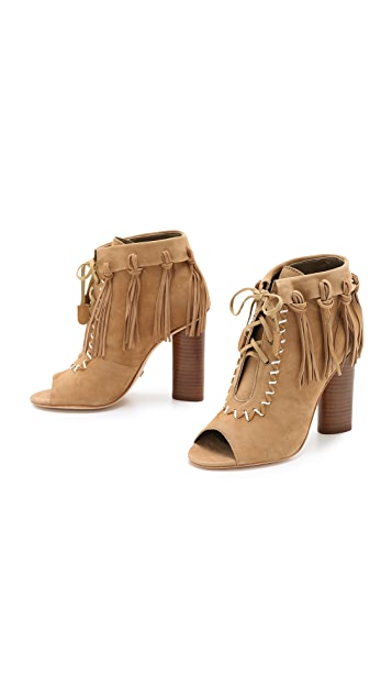 Cynthia Vincent Nailed Fringe Open Toe Booties