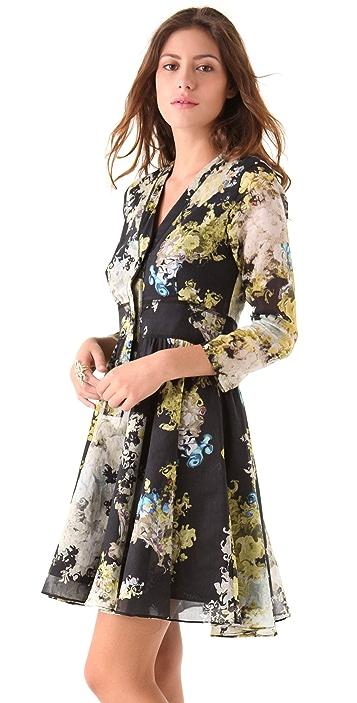 Cynthia Rowley Smokey Botanical Henley Dress