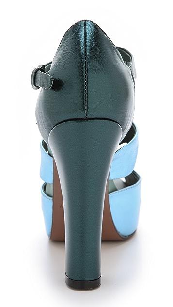 Cynthia Rowley Metallic T-Strap Heels
