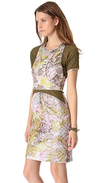 Cynthia Rowley Brocade Dress with Mesh Inset