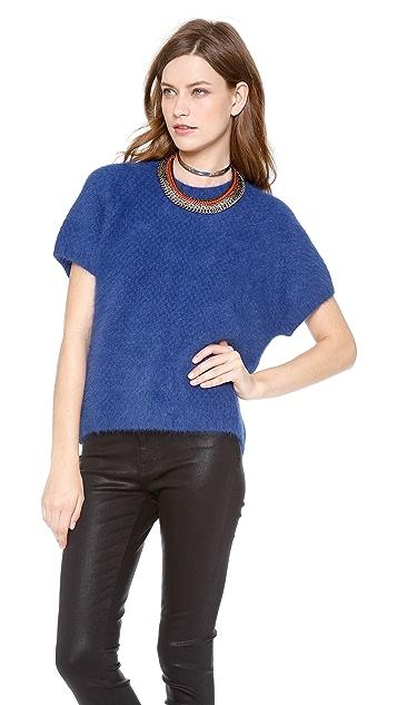 Cynthia Rowley Short Sleeve Angora Sweater