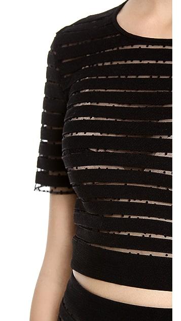 Cynthia Rowley Short Sleeve Crop Top