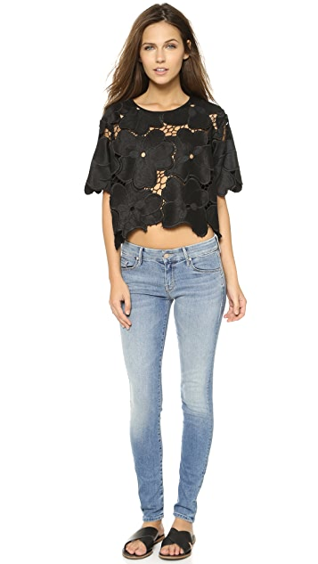 Cynthia Rowley Oversized Floral Lace Tee