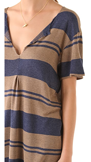 Daftbird Front Pleat Striped Top