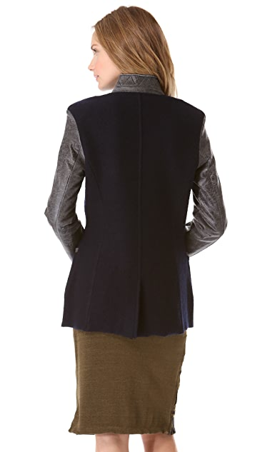 Dagmar Pierra Wool Jacket with Leather Sleeves