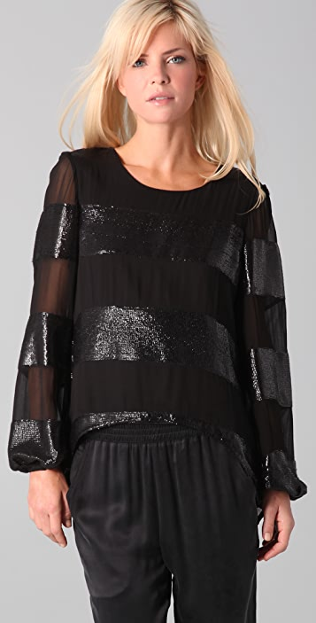 Dallin Chase Cahil Sequined Striped Top