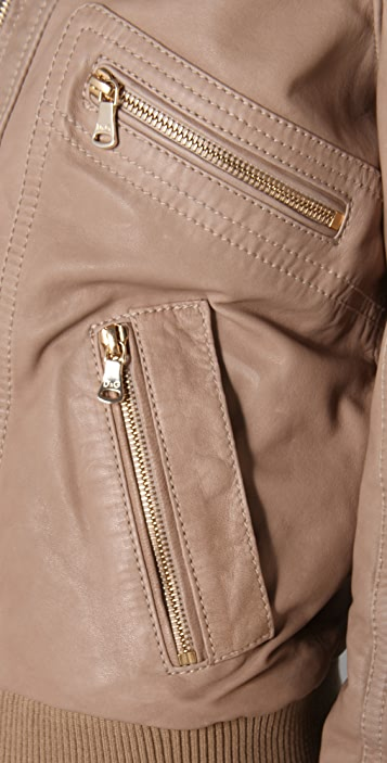 D&G Zip Front Leather Bomber Jacket