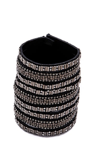 Deepa Gurnani Wide Embellished Leather Cuff