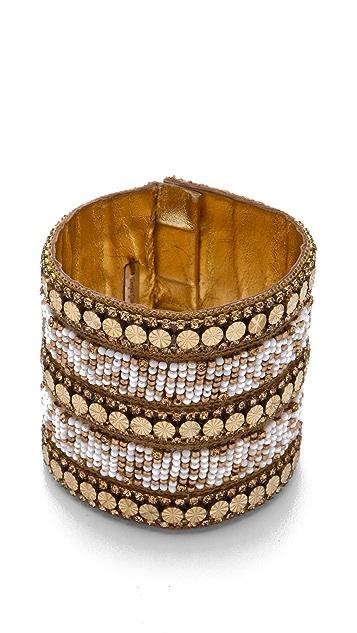 Deepa Gurnani Gold & Ivory Beaded Cuff