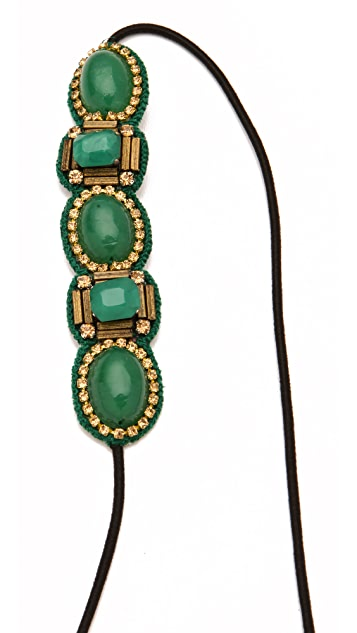 Deepa Gurnani Emerald Stone Applique Headband