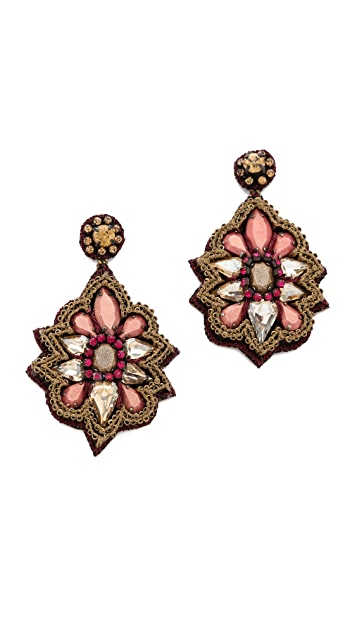 Deepa Gurnani Stone & Crystal Drop Earrings