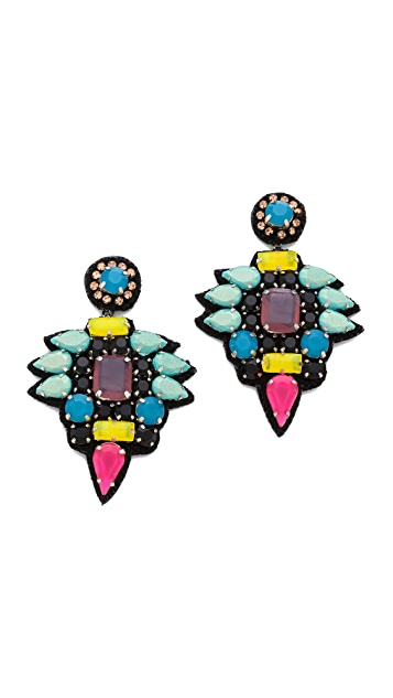 Deepa Gurnani Colorful Stone Earrings