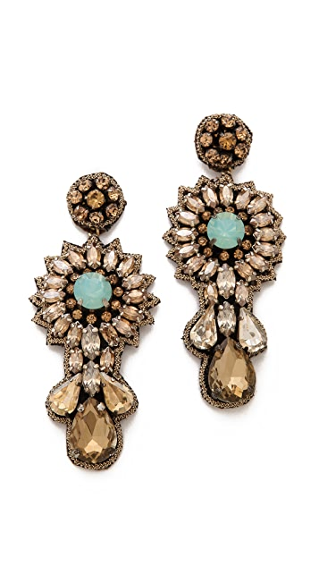 Deepa Gurnani Floral Crystal Earrings