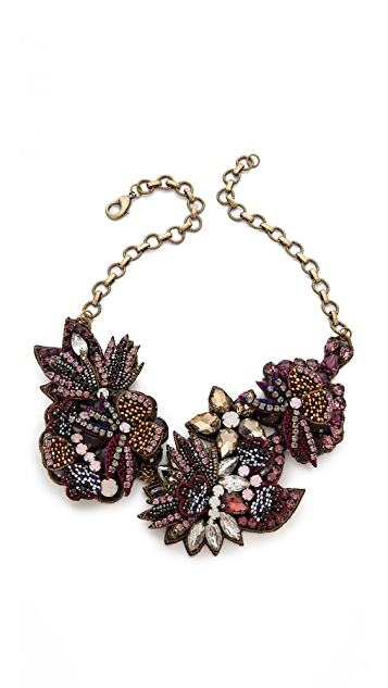 Deepa Gurnani Flower Sequin and Stone Necklace