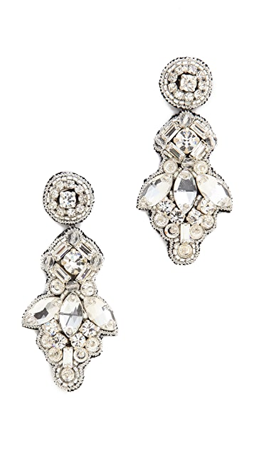 Deepa Gurnani Crystal Button Drop Earrings