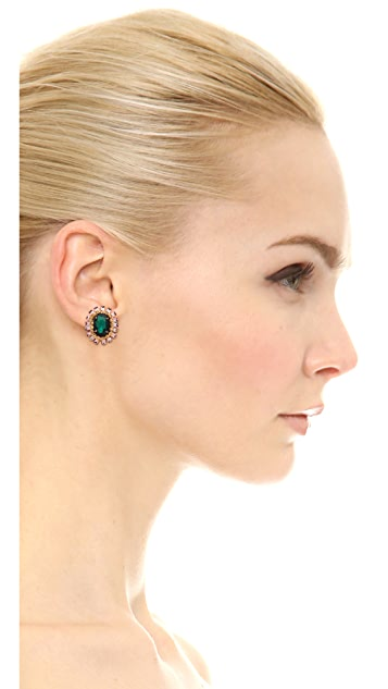Deepa Gurnani Crystal Button Earrings