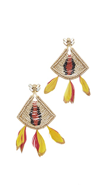 Deepa Gurnani Colleen Feather Earrings
