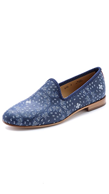 Del Toro Paisley Nappa Leather Slippers