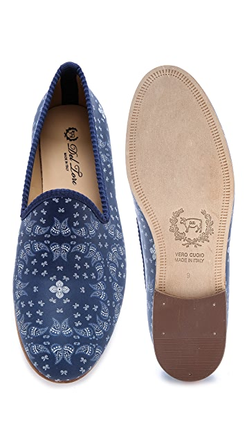 Del Toro Paisley Nappa Leather Slippers