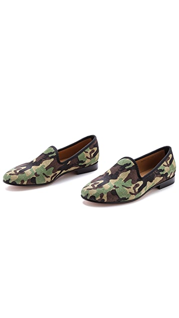 Del Toro Perforated Camo Suede Slippers