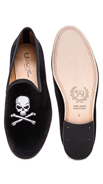 Del Toro Velvet Skull Embroidered Slippers