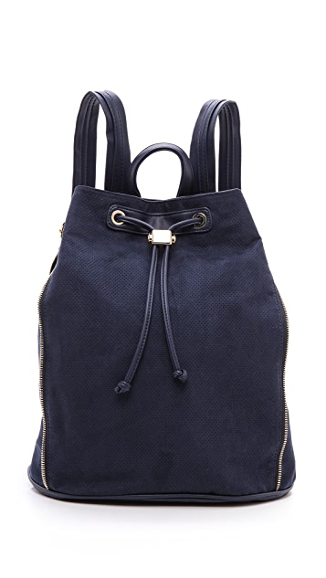 Deux Lux Perforated Faux Suede Backpack