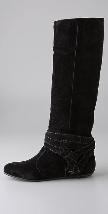 Diane von Furstenberg Weekend Suede Flat Boots with Ankle Wrap
