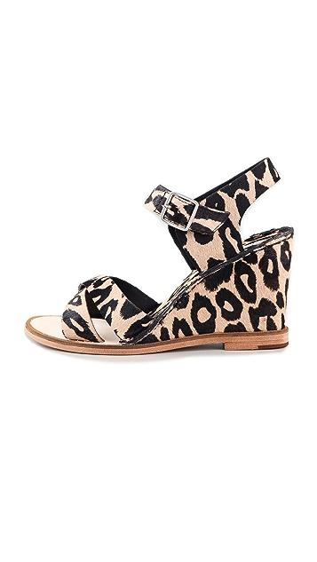 Diane von Furstenberg Dagga Haircalf Wedge Sandals