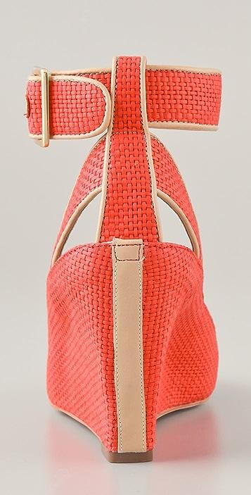 Diane von Furstenberg Senegal Raffia Wedge Sandals