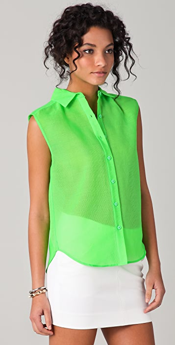 Diane von Furstenberg Jess Sleeveless Button Down Top