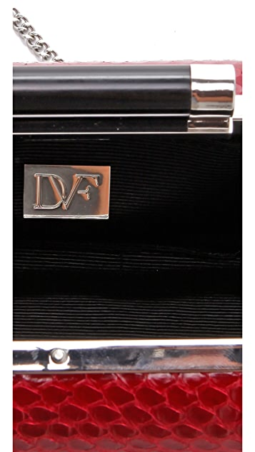 Diane von Furstenberg Tonda Striped Snakeskin Clutch