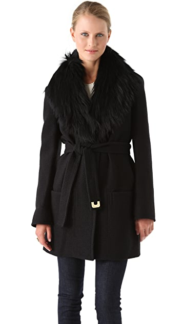 Diane von Furstenberg Victoria Jacket With Fur Collar
