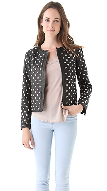 Diane von Furstenberg Kate Studded Leather Jacket