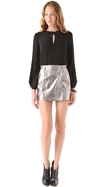 Diane von Furstenberg Lolita Metallic Leather Skirt