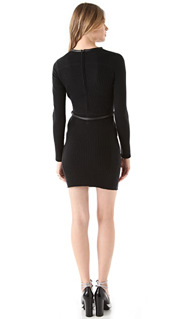 Diane von Furstenberg Shelma Leather Trim Dress