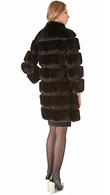 Diane von Furstenberg Funnelia Rabbit Fur Coat